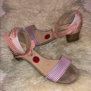 Anthropologie gingham low heel sandals